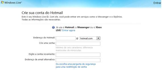 Cadastro Hotmail