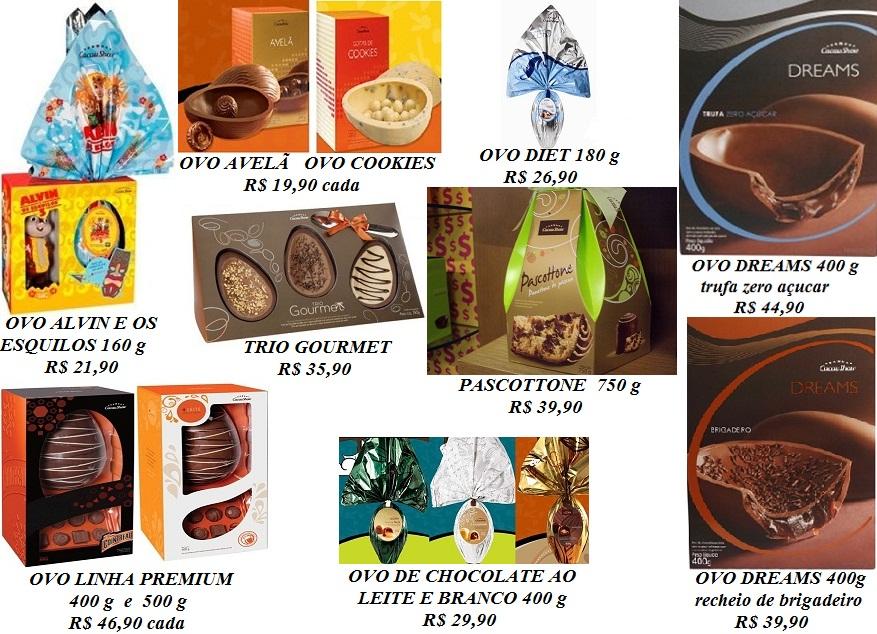 Ovos de Pascoa Cacau Show 2012 preços